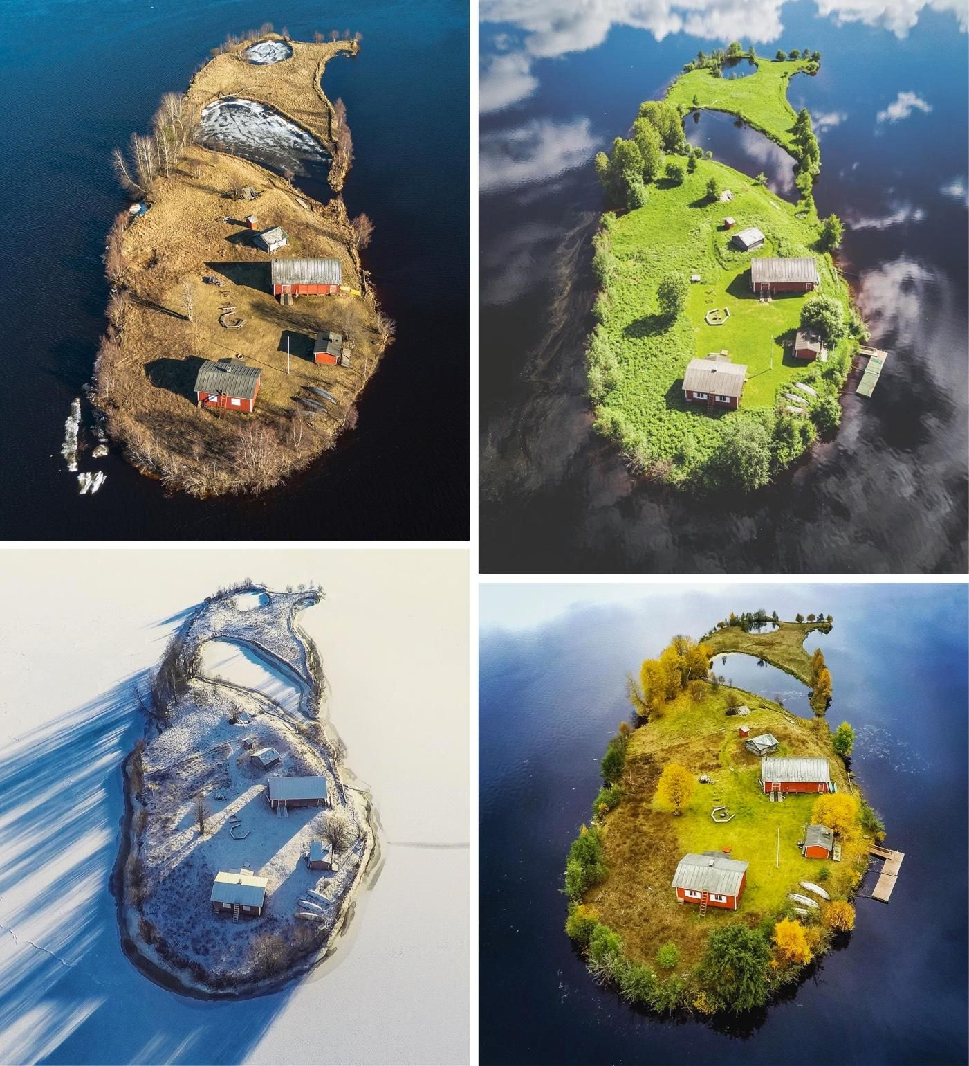 A Tiny Finnish Island in Four Seasons
