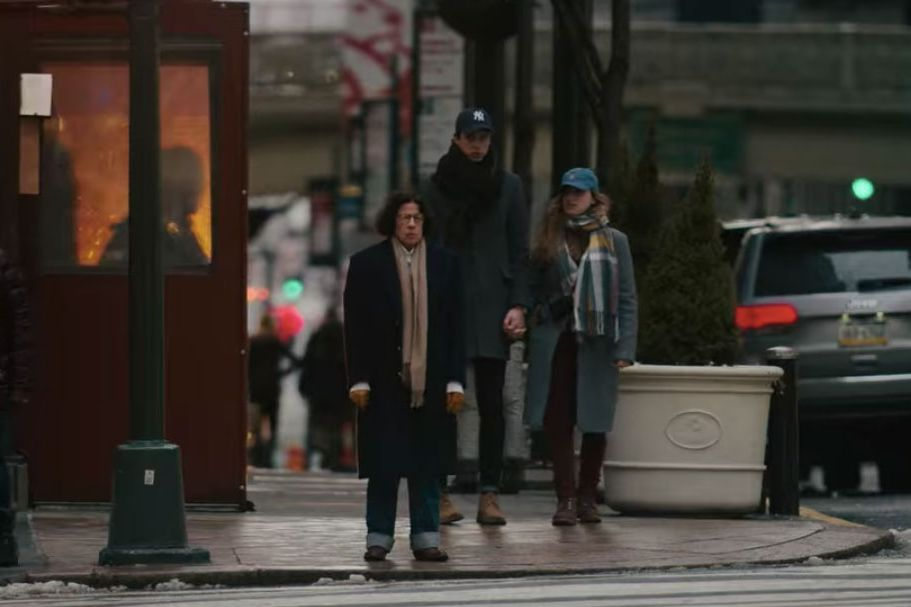 Fran crossing the street