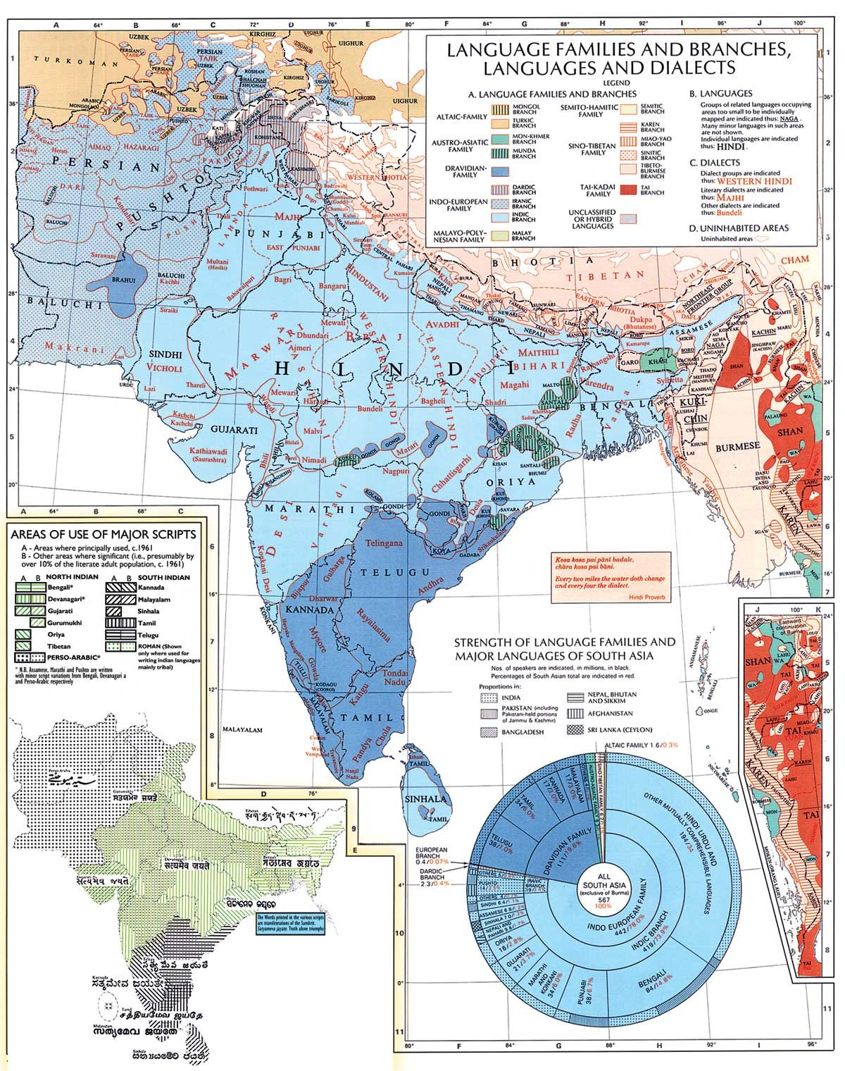 A Map of Indian Language Families, Languages, and Dialects