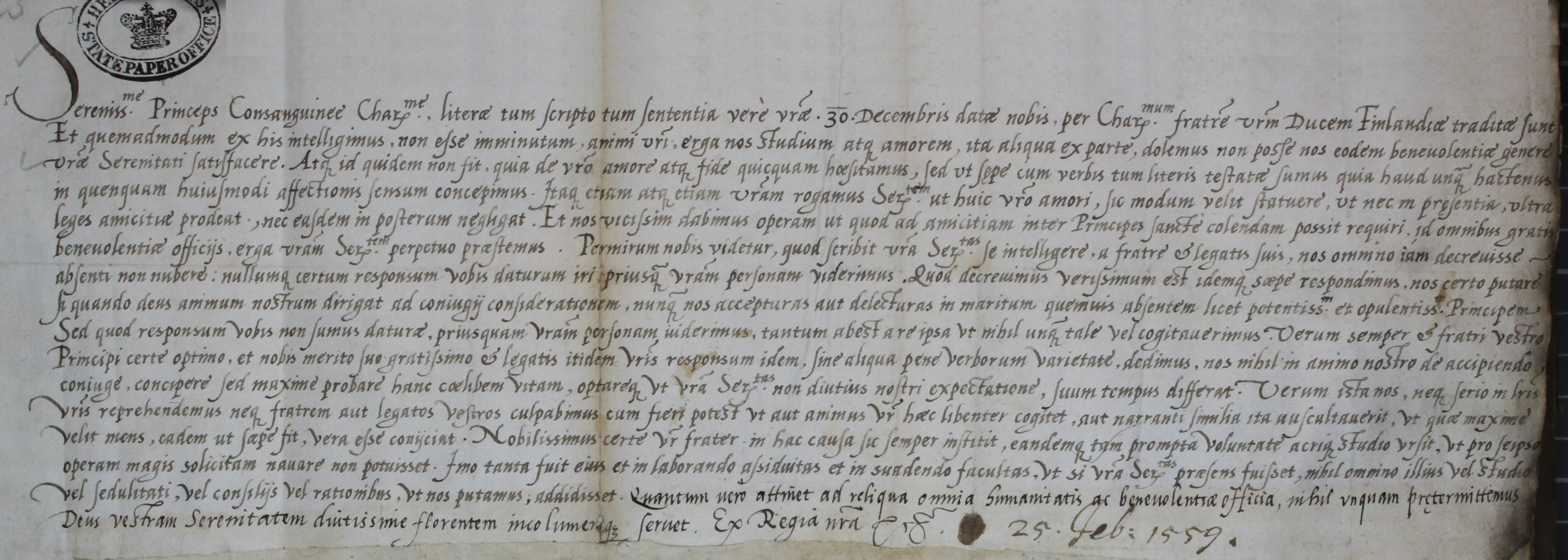 Elizabeth I to King Eric XIV of Sweden