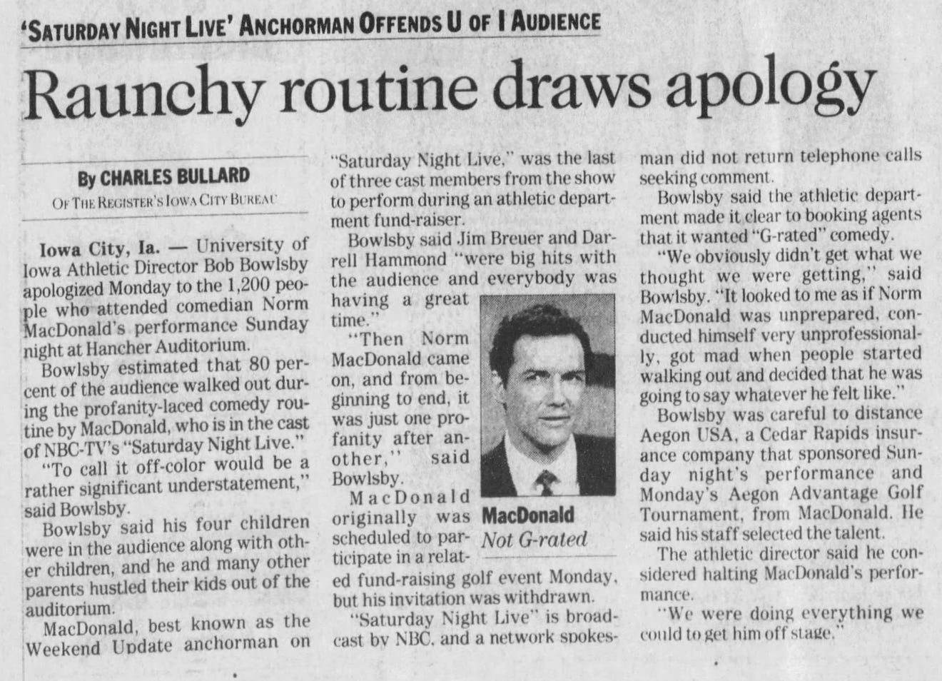 Report on Norm MacDonald's performance at the University of Iowa in The Des Moines Register