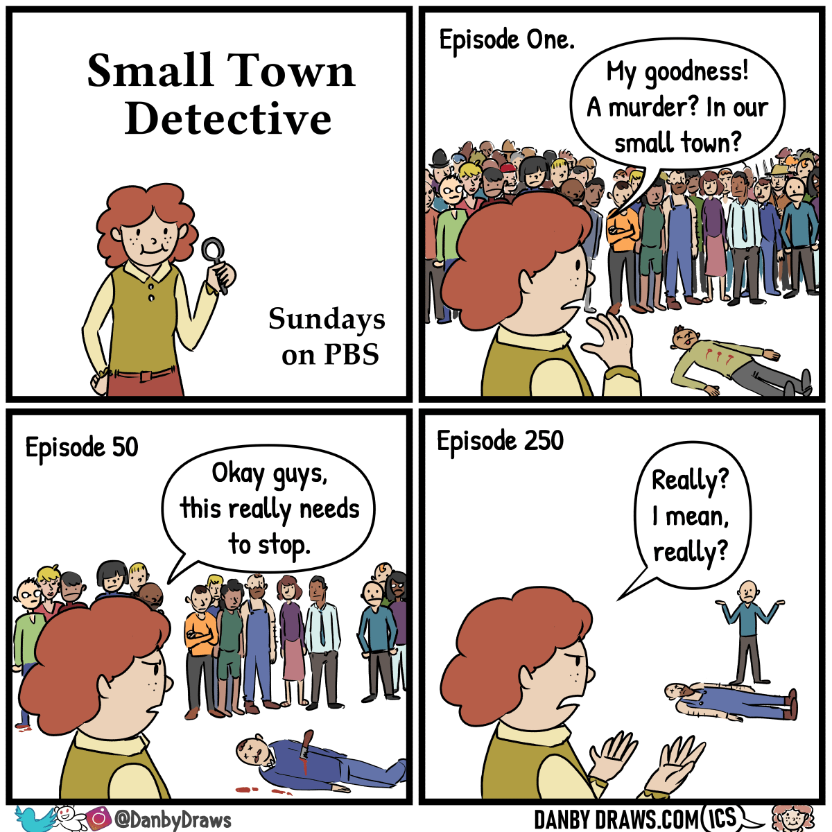 Comic by Danby Draws about smalltown detectives